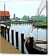 Fishing Village Marina In Zuiderzee Open Air Musuem In Enkhuizen-netherlands Canvas Print
