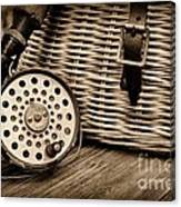 Fishing - Vintage Fly Fishing - Black And White Canvas Print