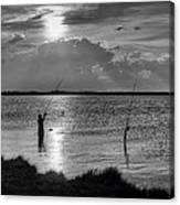 Fishing With Dad - Black And White - Merritt Island Canvas Print