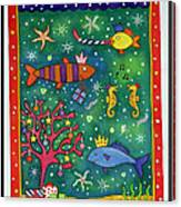 Fishy Christmas, 1997 Wc And Pastel On Paper Canvas Print