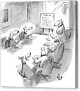 Five Dogs Sit Around An Office Meeting Table Canvas Print