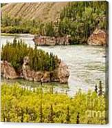 Five Finger Rapids Of Yukon River Yukon T Canada Canvas Print