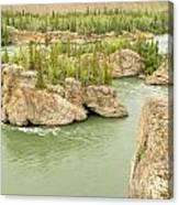 Five Finger Rapids Rocks Yukon River Yt Canada Canvas Print