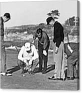 Five Golfers Looking At A Ball Canvas Print