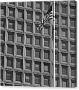 Flag And Windows In Black And White Canvas Print