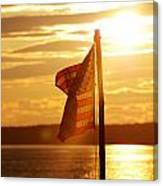 Flag At Sunset Canvas Print