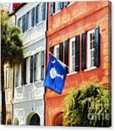 Flag Of Charleston With Palmetto And Crescent Moon Canvas Print