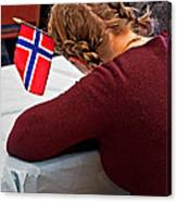 Flag Of Norway In Girls' Braided Hair Art Prints Canvas Print
