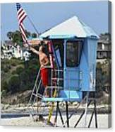 Flag Waving Lifeguard Canvas Print