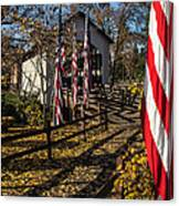 Flags And Covered Bridge Canvas Print