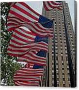 Flags At Rokefeller Plaza Canvas Print