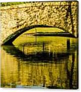 flagstone walking bridge at Freedom Park in Charlotte North Car Canvas Print