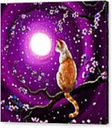 Flame Point Siamese Cat In Dancing Cherry Blossoms Canvas Print