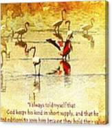 Flamingo In Yellow Canvas Print