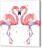 Flamingo Love Watercolor Canvas Print