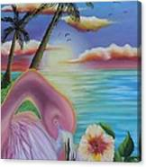 Flamingo Sunset Canvas Print