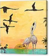 Flamingo Sunset Silhouette Cathy Peek Tropical Birds  Canvas Print