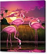 Flamingoes Flamingos Tropical Sunset Landscape Florida Everglades Large Hot Pink Purple Print Canvas Print