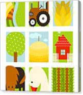Flat Childish Rectangular Agriculture Canvas Print