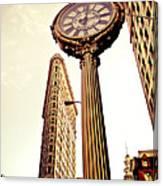 Flatiron Building And 5th Avenue Clock Canvas Print