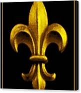 Fleur De Lis In Black And Gold Canvas Print