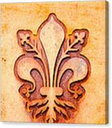 Fleur De Lis On A Rusty Metal Plate Canvas Print