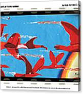 Flight Of Magical Gulls Anime Canvas Print