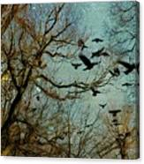 Flight Of The Forest Crows Canvas Print