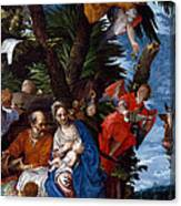 Flight To Egypt With Angels Canvas Print