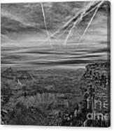 Flightpath-black And White Canvas Print