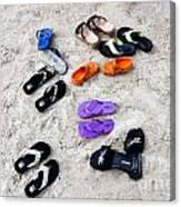 Flip Flops On The Beach Canvas Print