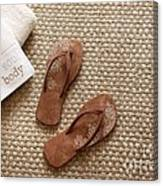 Flip Flops With Towels On Seagrass Rug Canvas Print