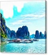 Floating In Ha Long Canvas Print