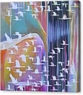 Flock Of Cranes Canvas Print
