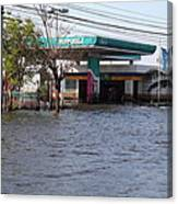 Flooding Of Stores And Shops In Bangkok Thailand - 01133 Canvas Print