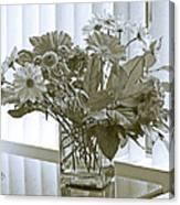 Floral Arrangement With Blinds Reflection Canvas Print