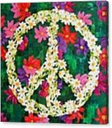 Floral Peace Pop Art Canvas Print