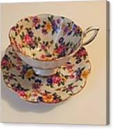 Floral Tea Cup Canvas Print