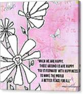 Floral Typography Word Art Quote Flowers And Butterflies By Megan Duncanson Canvas Print