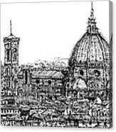 Florence Duomo In Ink  Canvas Print