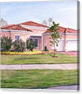 Florida House Watercolor Portrait Canvas Print