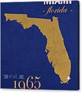 Florida International University Panthers Miami College Town State Map Poster Series No 038 Canvas Print