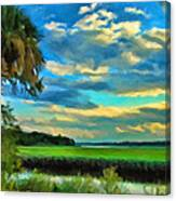 Florida Landscape With Palms Canvas Print