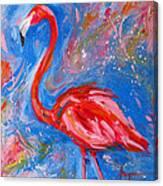 Florida Pink Flamingo - Modern Impressionist Art Canvas Print