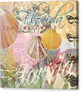 Florida Seashells Collage Canvas Print