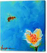 Flower And A Bee Canvas Print
