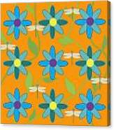 Flower And Dragonfly Design With Orange Background Canvas Print