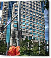 Flower And Skyscraper Canvas Print