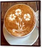 Flower Bouquet Latte Art Canvas Print