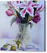 Flower Bouquet With Teapot And Fruit Canvas Print